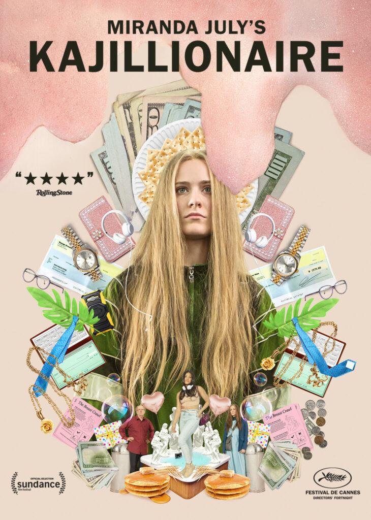 Das Cover zeigt Old Dolio im Pop-Art-Stil vor und hinter einer Collage aus Luxusgegenständen sowie materiellen Besitztümern. Über ihren Kopf tropft der pinke Schaum aus der Fabrik, in der die Familie haust.