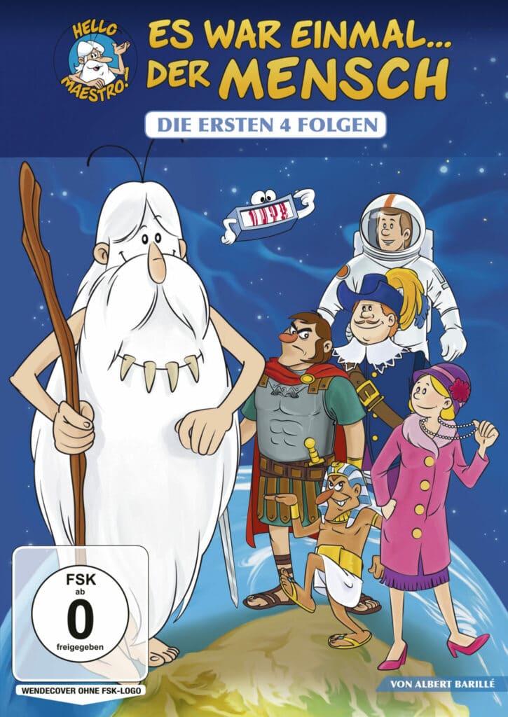 Es war einmal der Mensch darf bei den Kinderserien der 80er nicht fehlen. Das Bild zeigt das deutsche DVD-Cover mit den typischen Figuren der Serie. Unter anderem den Maestro mit seinem langen weißen Bart, der seinen ganzem Körper verdeckt. Darüber hinaus sind die anderen Figuren in römisches Rüstung oder Astronauten Anzug zu sehen.
