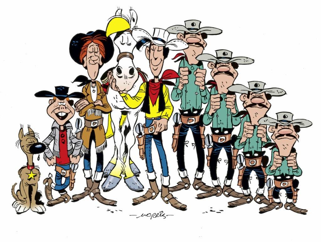 Auch Lucky Luke und die Daltons gehören zu den Kinderserien der 80er. Lucky Luke steht hier zentral während seine Feinde, die Daltons, links von ihm aus gesehen stehen und Freunde, wie sein Pferd Jolly Jumper, zu seiner Rechten.