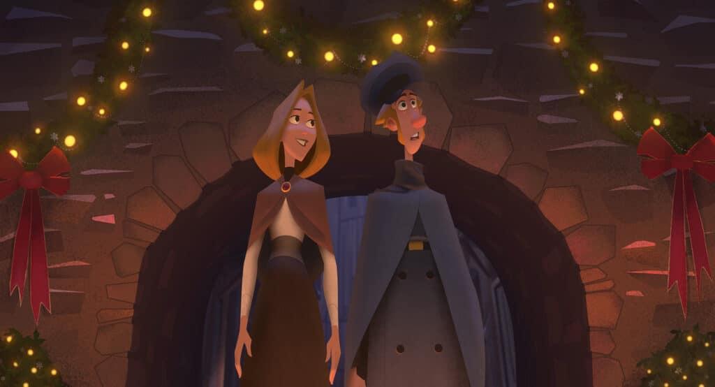 """Die Figuren Alva (Rashida Jones) & Jepsen (Jason Schwartzman) bestaunen in """"Klaus"""" die festliche Dekoration. Auch im Adventsfrühstück Podcast wird """"Klaus"""" ein Thema sein."""