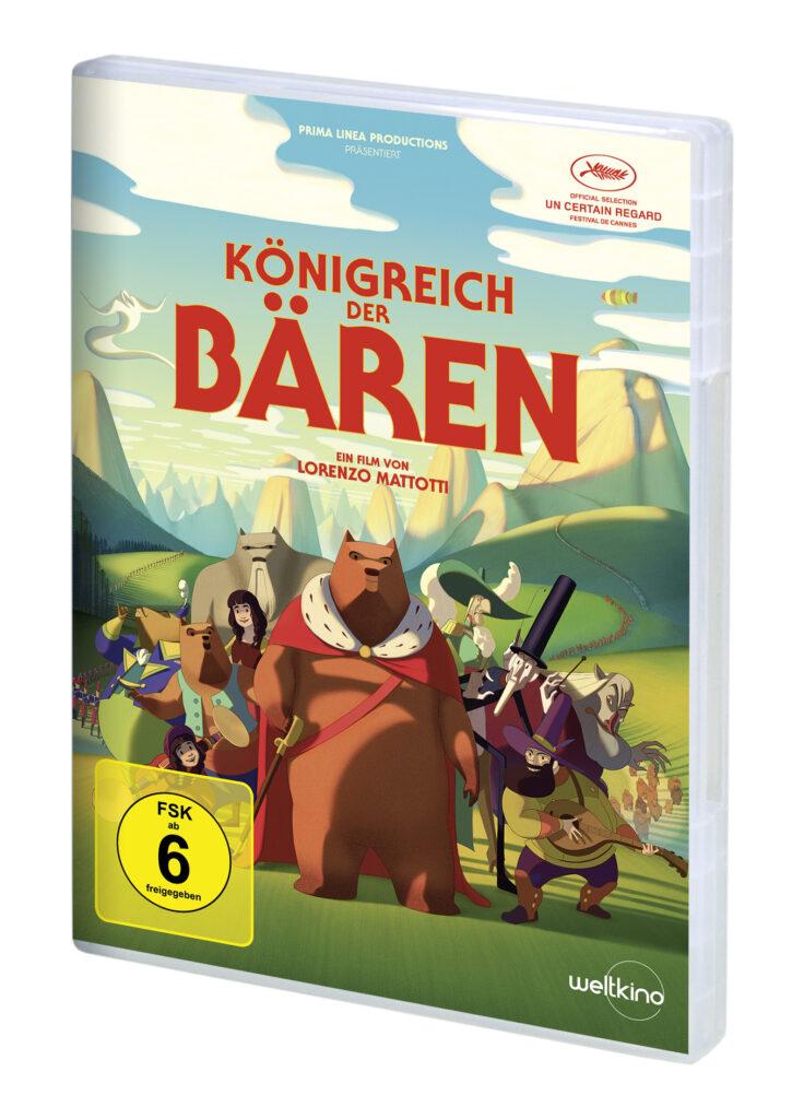 das Cover der DVD von Königreich der Bären zeigt einige Bären vor einer grünen Landschaft und einem blauen Himmel..
