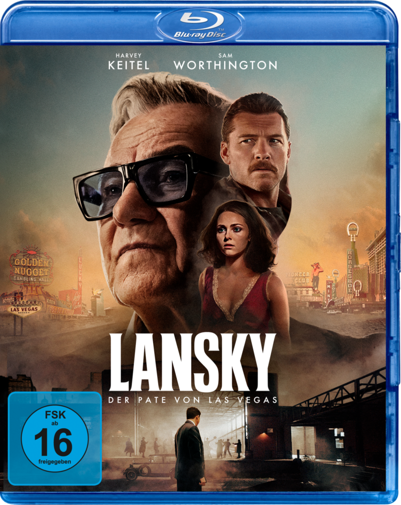 Das Cover der Blu-ray von Lansky - Der Pate von Las Vegas zeigt die Gesichter von Harvey Keitel als Meyer Lansky und Sam Worthington als David Stone sowie den Oberkörper von Minka Kelly als Maureen, die Stone für das FBI ausspionieren soll. Im unteren Bild ist eine Gangsterzene aus den 30er Jahren zu sehen.