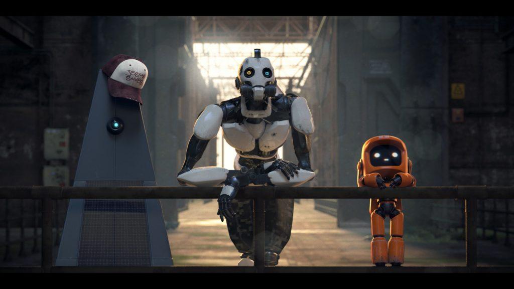 Die drei ulkigen Roboter auf den Spuren der Menschheit in Love, Death + Robots. © Netflix