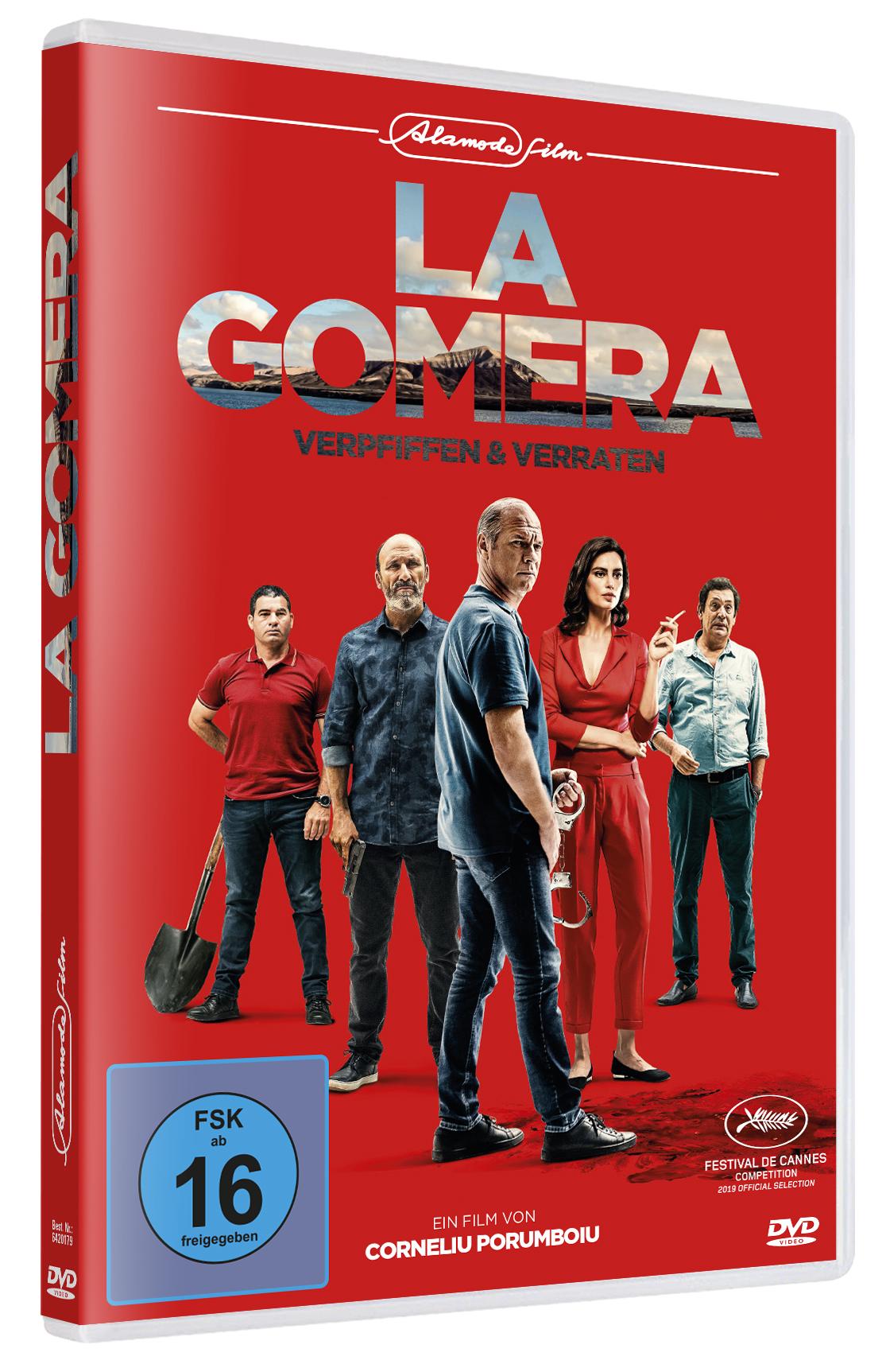 Im Vordergrund des DVD-Covers zu La Gomera ist Protagonist Cristi zu sehen. Hinter ihm reihen sich vier weitere Nebencharaktere auf. Alle stehen vor einem knallroten Hintergrund.