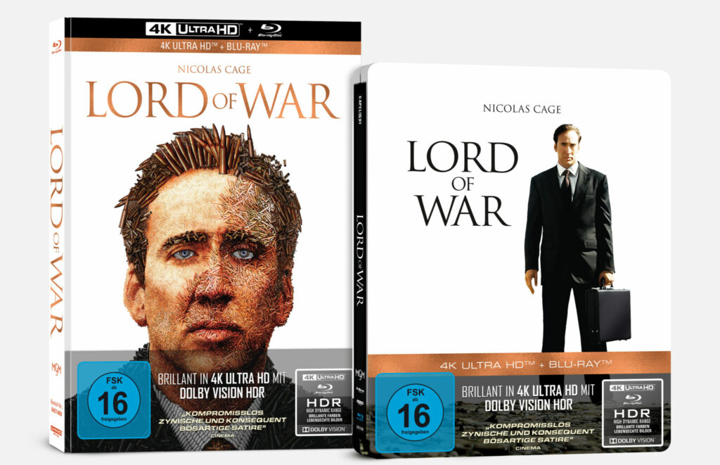"""Zu sehen sind das UHD Mediabook (links) und das Steelbook (rechts) zu """"Lord of War"""". Auf dem deutschen Cover des Steelbooks ist Nicolas Cage in seinem schwarzen Anzug zu sehen. Der Hintergrund ist weiß und neben ihm ist der Titel des Films in schwarzer Schrift zu lesen. Das Mediabook wiederum zeigt nicht den ganzen Körper von Cage, sondern nur das Gesicht. Dieses ist aber kein normales Foto, sondern ein Motiv, welches sich auch Patronenhülsen zusammensetzt, die am Ende das Gesicht von Cage widerspiegeln. Über dem Kopf steht der Filmtitel in orangener Schrift."""