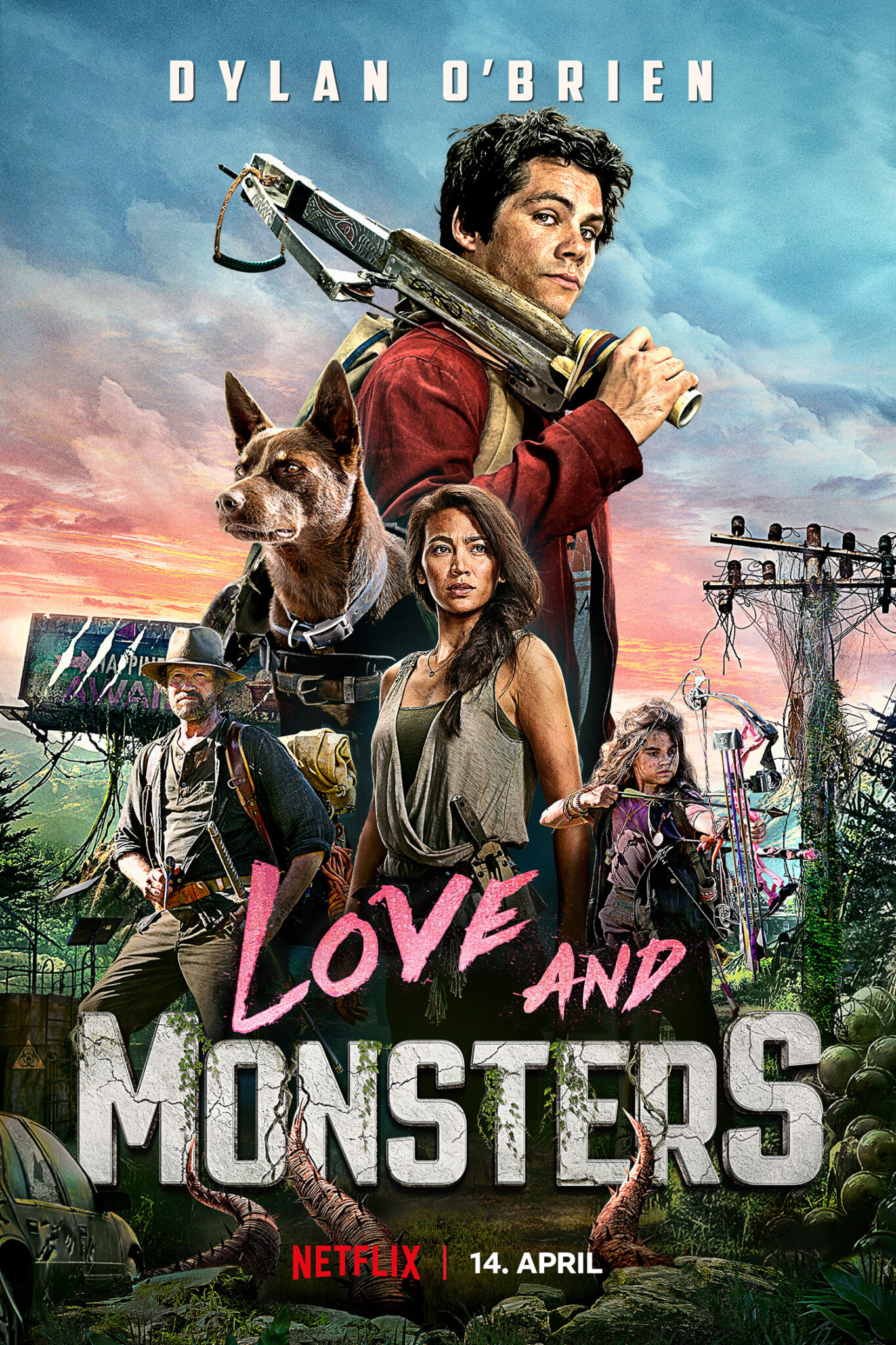 Auf dem Poster von Monster Problems steht der alternative Titel Love and Monsters. Außerdem sieht man die Hauptfiguren: In groß Dylan O'Brien, darunter Jessica Henwick, Michael Rooker, Ariana Greenblatt und ein brauner Hund.