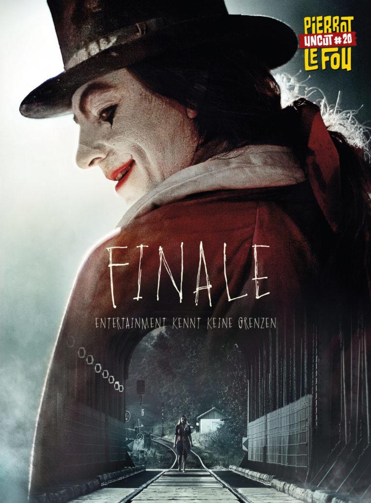 Ein kühl lächelnder Clown, darunter ein Mädchen in einem Bahntunnel, zu sehen auf dem Cover zum Film Finale, zu dem wir ein Interview mit Søren Juul Petersen führen konnten.