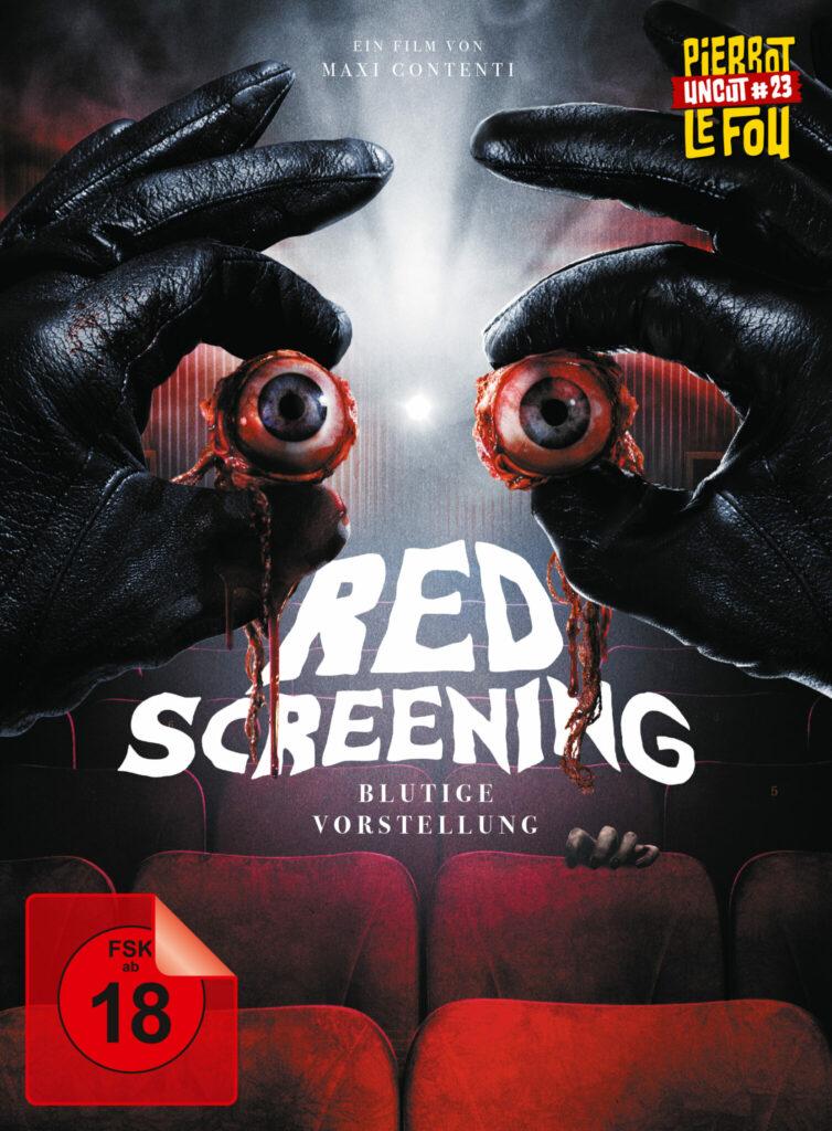 Zwei schwarze Handschuhe halten zwei Augäpfel vor den Lichtstrahl einer Projektors, dahinter die Reihen an Sitzplätzen im Kinosaal - Red Screening - Blutige Vorstellung
