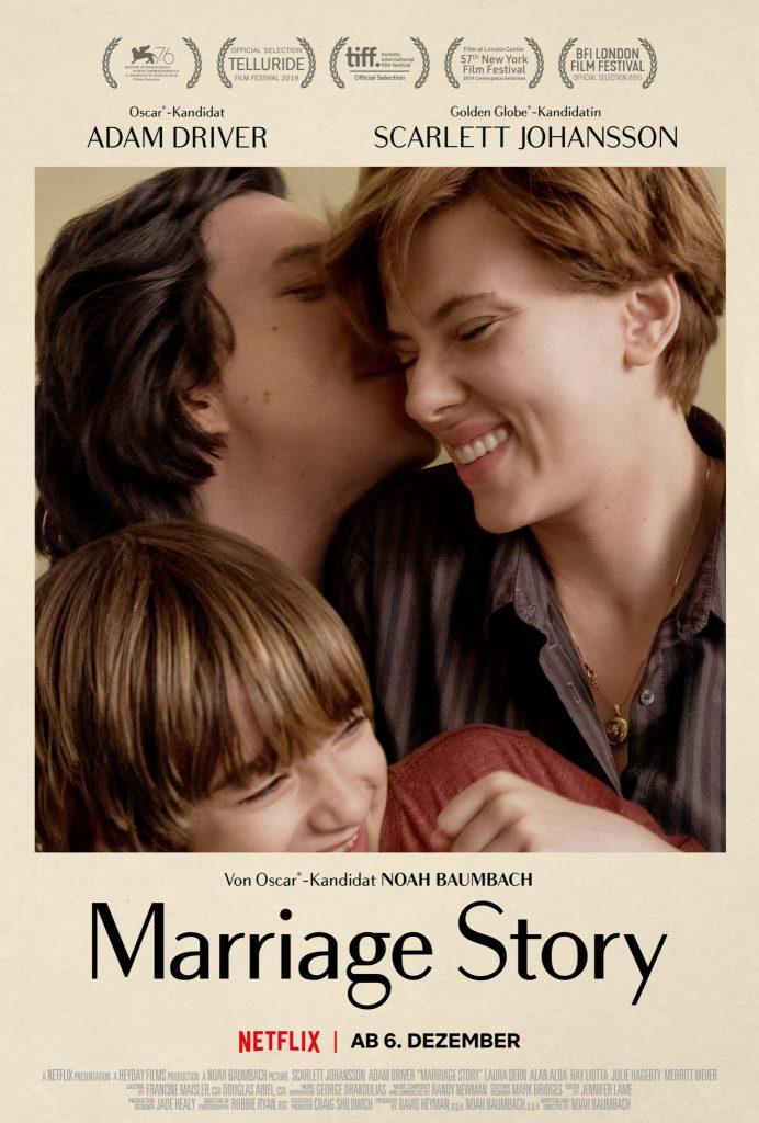 Auf dem offiziellen Poster zu Marriage Story sieht man Nicole, Charlie und Sohn Henry glücklich miteinander lachend.