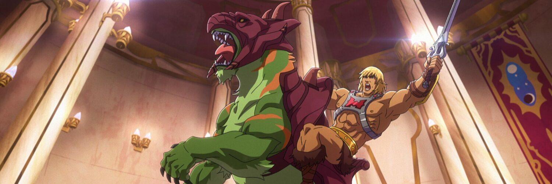 He-Man mit leuchtendem Schwert auf einer Battle Cat, die nur auf den Hinterbeinen steht
