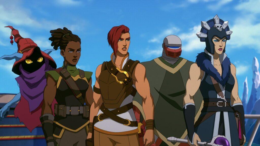 Nebeneinander sind die Zeichentrickfiguren ORKO, ANDRA, TEELA, ROBOTO und EVIL-LYN zu sehen