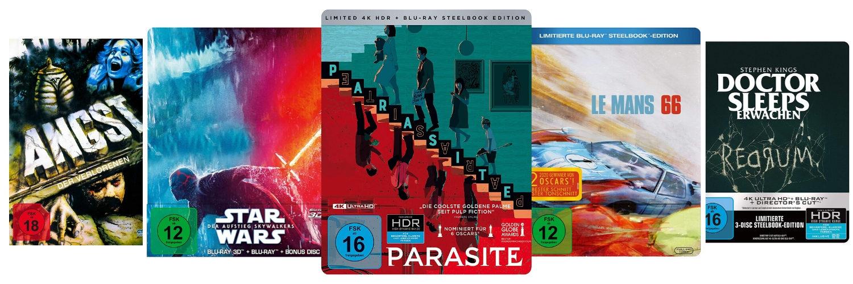 Es sind die Cover von Angst der Verlorenen, Skywalkers Aufstieg, Parasite, Le Mans 66 und Doctor Sleeps Erwachen zu sehen