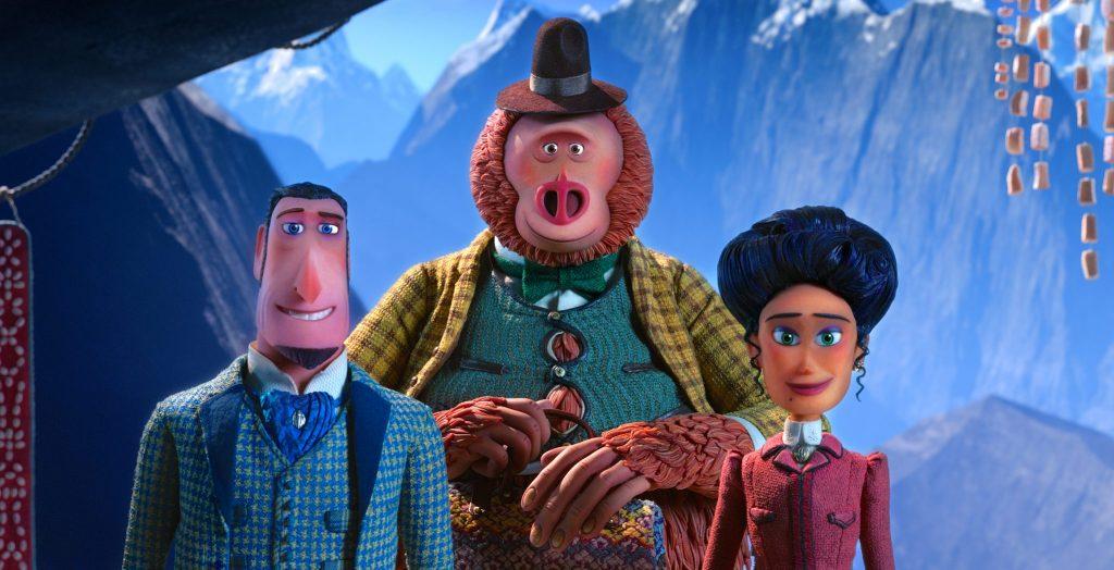 Sir Lionel Frost , Mister Link und Adelina Fortnight stehen gut gelaunt zusammen in Mister Link - Ein fellig verrücktes Abenteuer