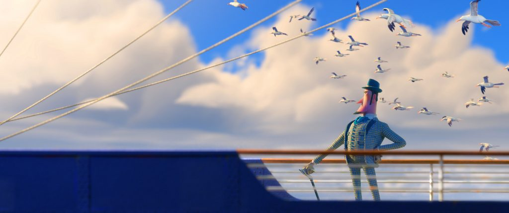 Sir Lionel Frost auf dem Deck eines Schiffes, umringt von Möwen   Mister Link in Mister Link - Ein fellig verrücktes Abenteuer
