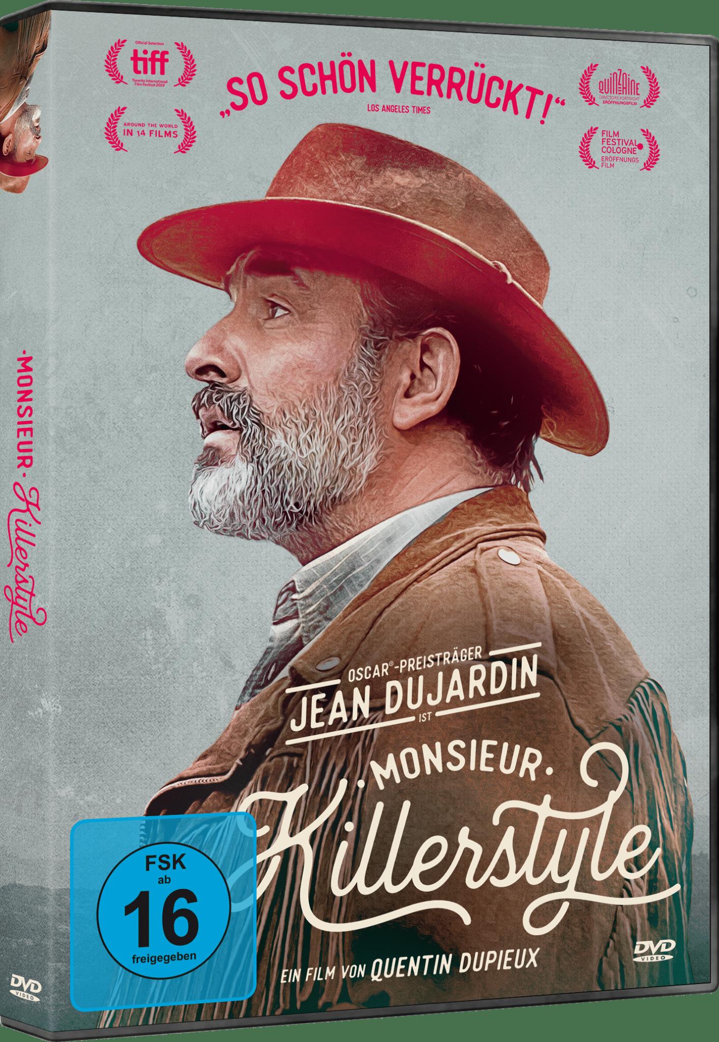 Das DVD-Cover von Monsieur Killerstyle zeigt Hauptcharakter Georges (Jean Dujardin) im Profil. Er trägt seine Wildlederjacke und einen geklauten Wildlederhut.