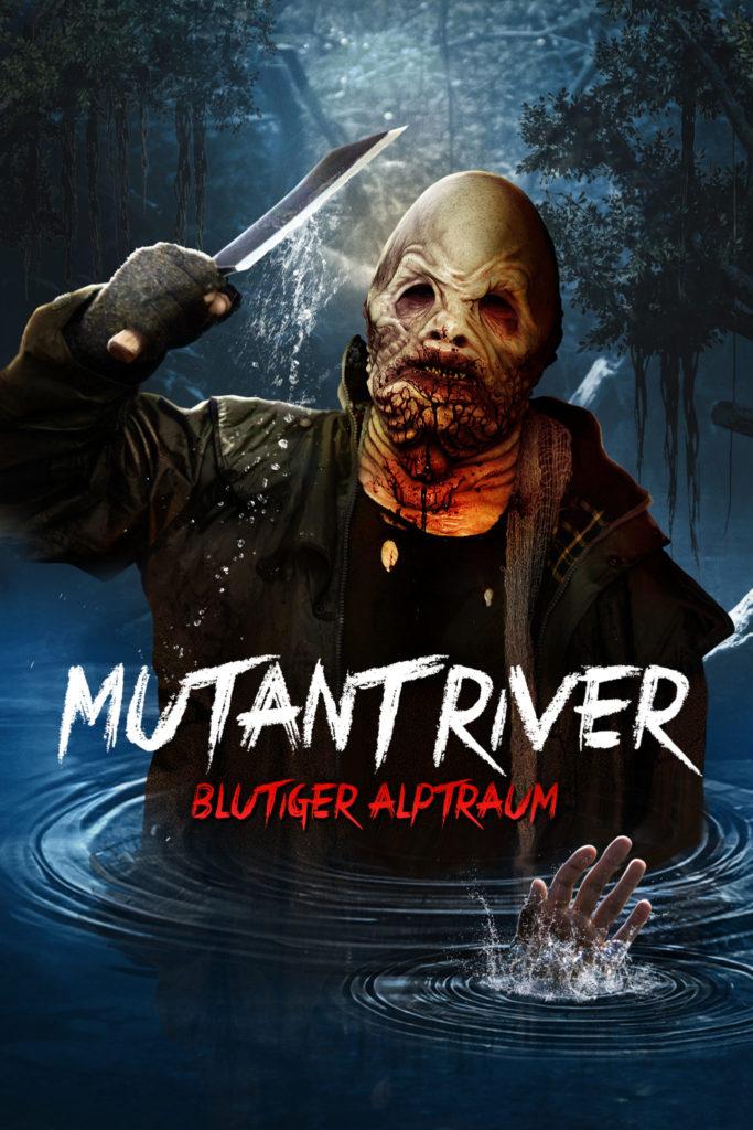 Das offizielle Poster von Mutant River - Blutiger Alptraum zeigt eine Kreatur, die im Wasser steht und ein Messer in der Hand hält..