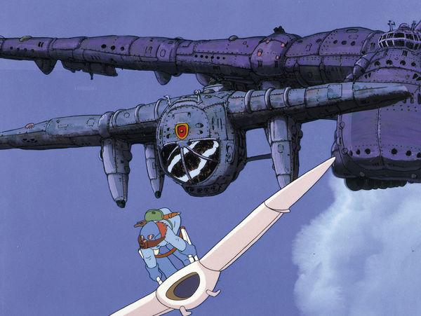 Nausicaä aus dem Tal der Winde flieht auf ihrem Gleiter vor zwei Luftschiffen