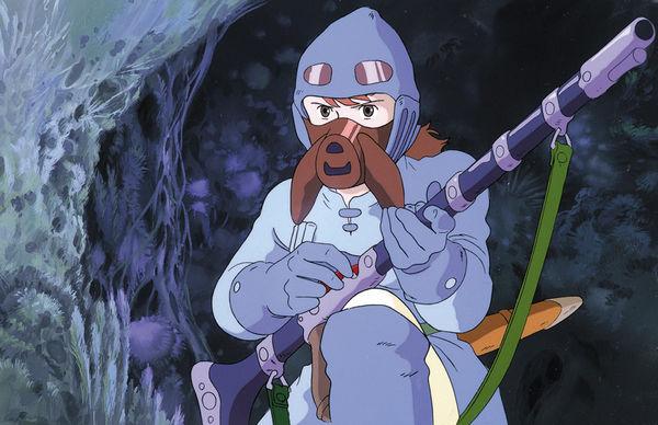 Prinzessin Nausicaä aus dem Tal der Winde in Überlebensmontur und mit Waffe