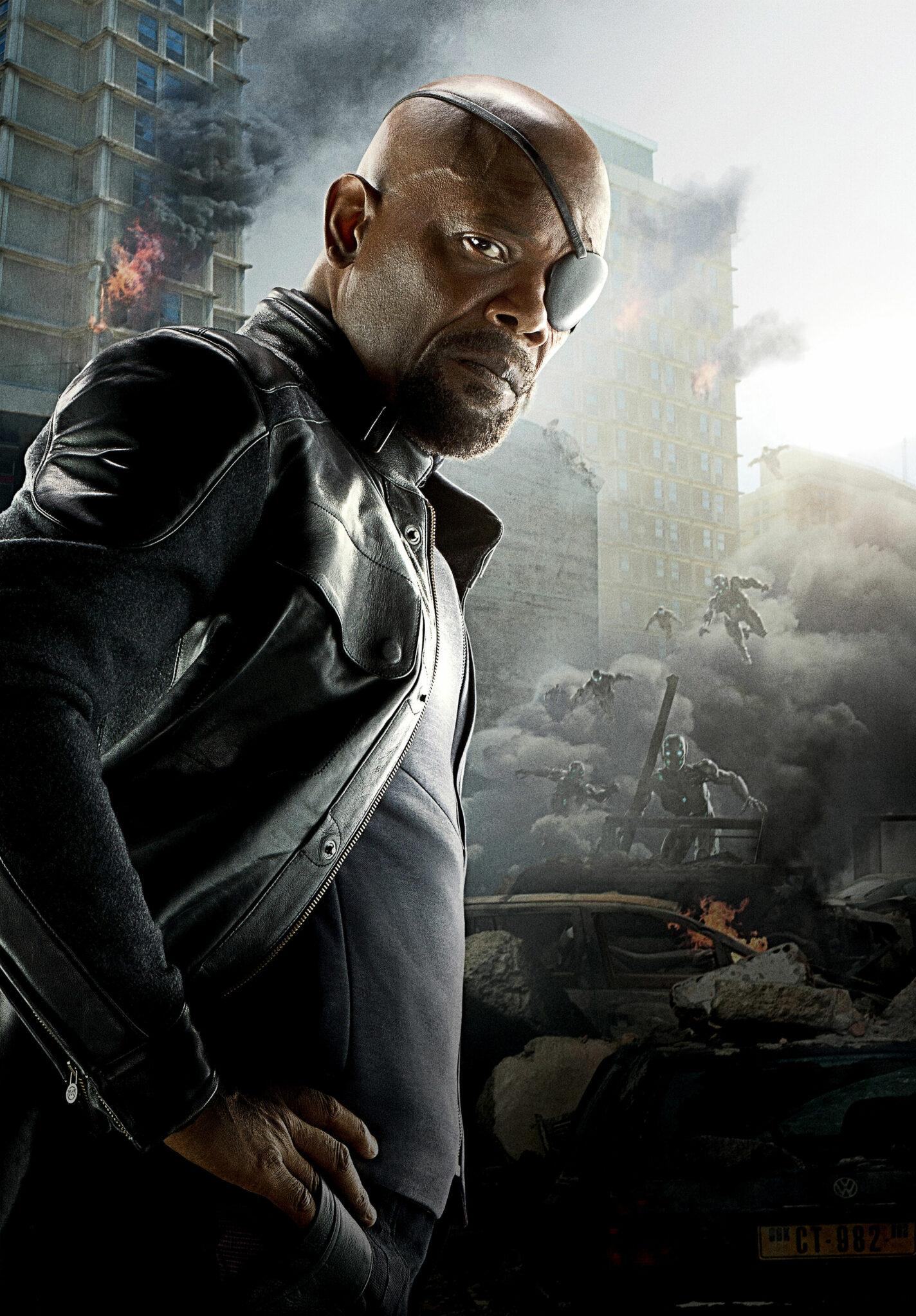 Nick Fury (Samuel L. Jackson) auf einem Charakterposter