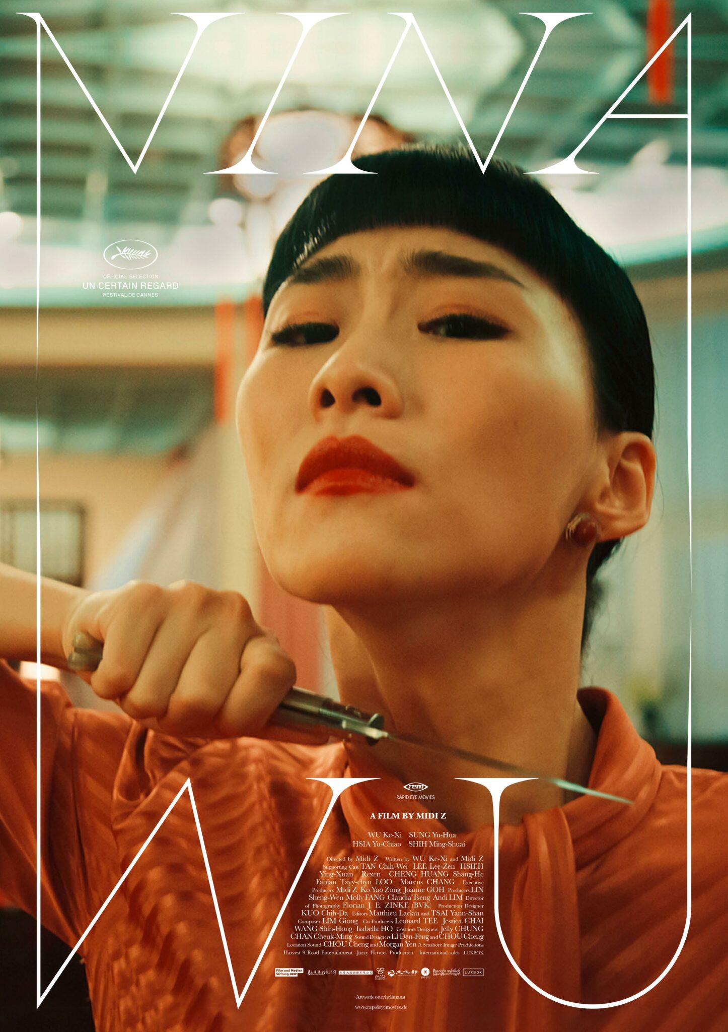 Nina Wu (Wu Ke-Xi) hält sich auf dem Poster zum Film mit angestrengter Miene ein Messer an den eigenen Hals.