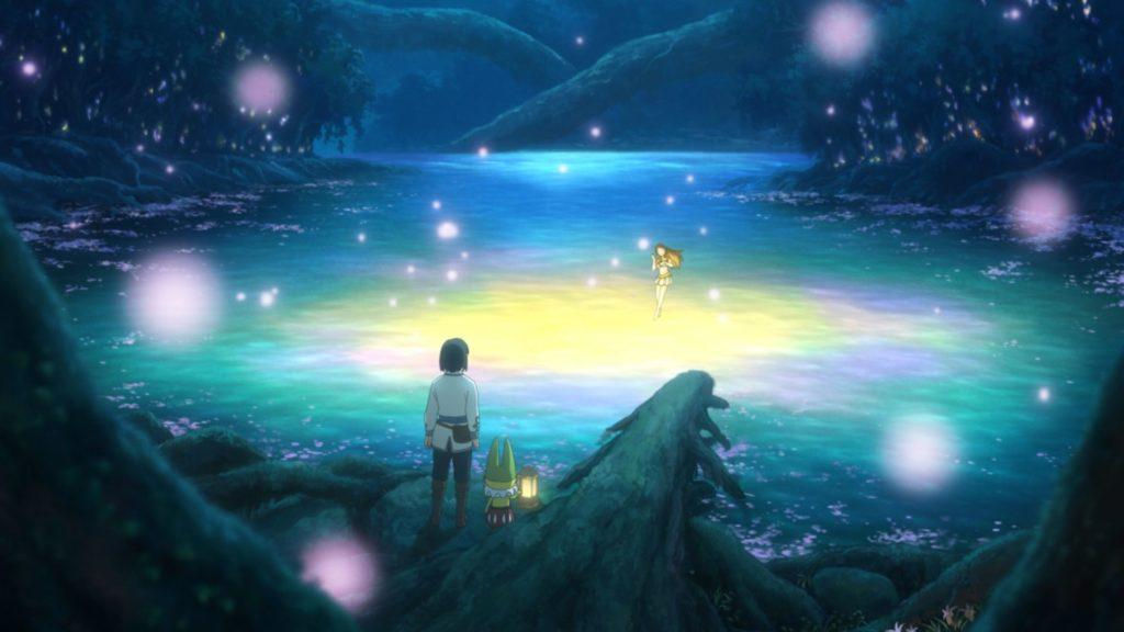 Yuu steht an einem leuchtenden See im Dunkeln in Ni no Kuni