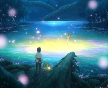 Yuu steht an einem leuchtenden See im Dunkeln