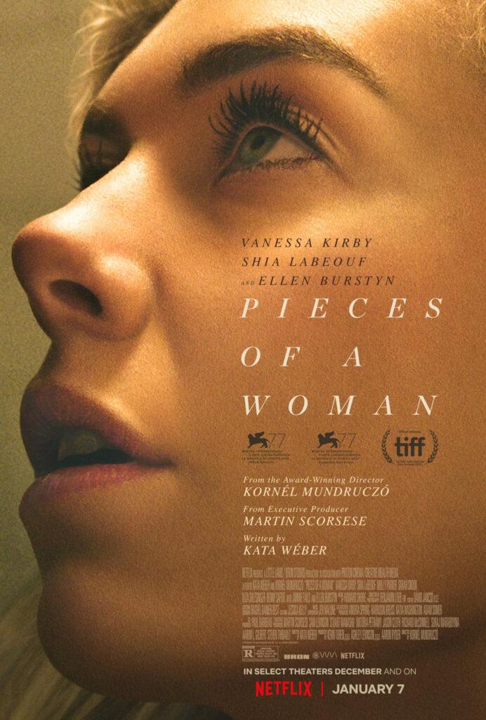 Plakat von Pieces of Woman - Vanessa Kirby in einer Nahaufnahme, die sehnsuchtsvoll jemanden außerhalb des Plakats ansieht