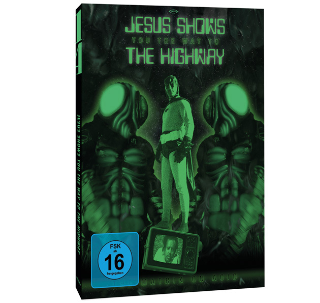 Ein Mann im alten Batman-Kostüm, eingekesselt von zwei riesigen Insektenmänner prangen auf dem grünen Cover von Jesus Shows You the Way to the Highway