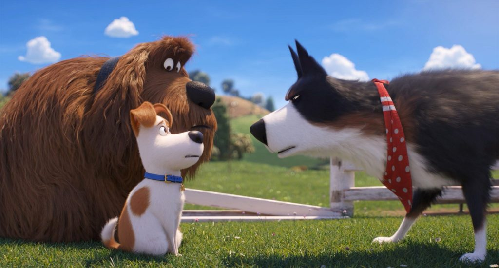 Max & Duke stoßen auf Farmhund Rooster in Pets 2 © Illumination Entertainment and Universal Pictures