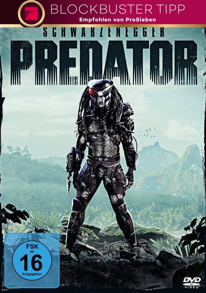 Das DVD Cover von Predator mit FSK 16 Siegel und dem titelgebenden Predator inmitten einer Dschungellandschaft