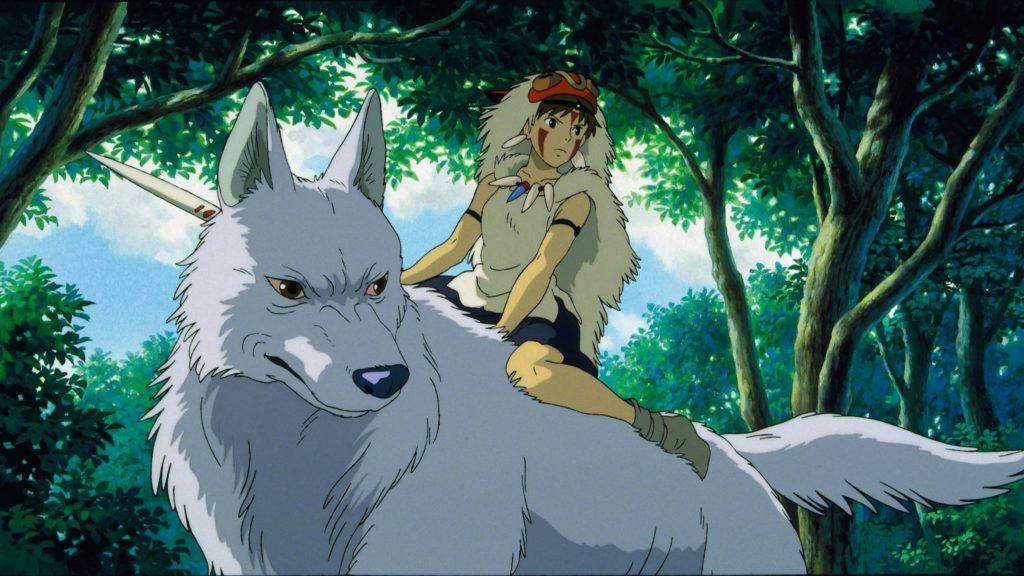 Prinzessin Mononoke reitet auf einem Wolf im gleichnamigen Animefilm.