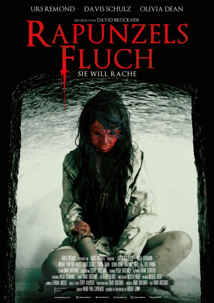 Das Filmposter zu Rapunzels Fluch zeigt die vom Dämonen besessene Rapunzel (Olivia Dean) im Schneidersitz und mit rotem Gesicht.
