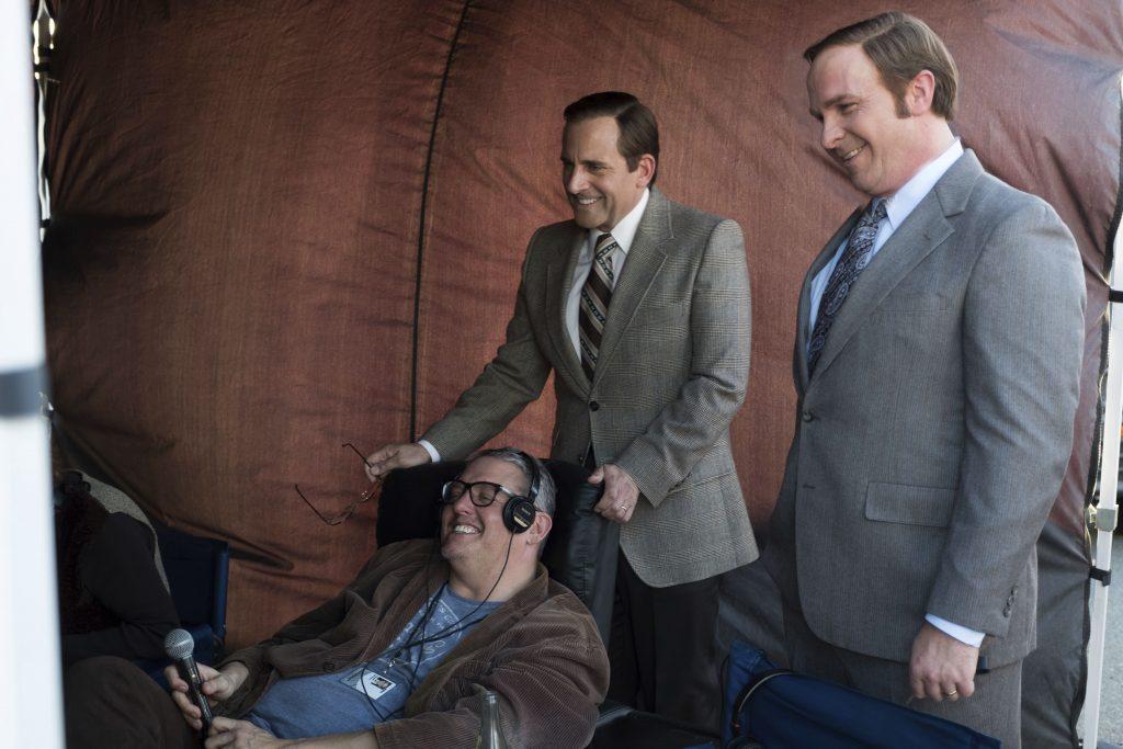 Regisseur und Drehbuchautor Adam McKay mit Steve Carell und Christian Bale