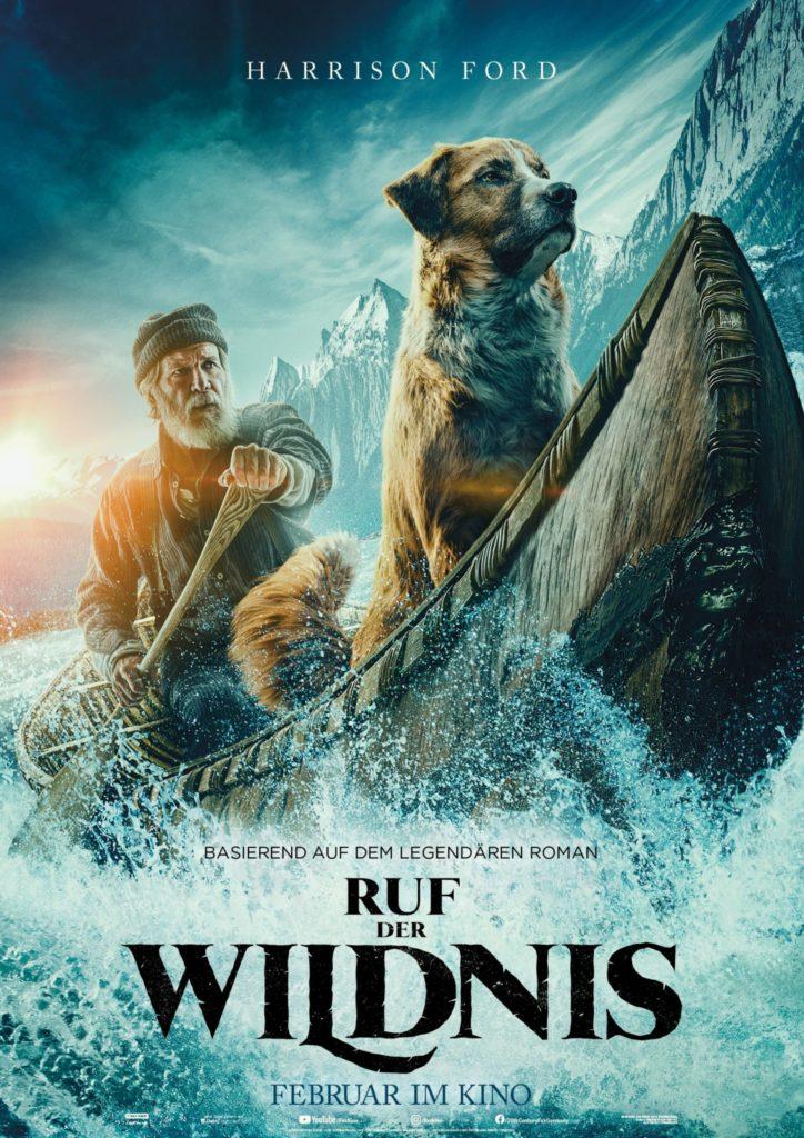 """Harrsion Ford und der Schlittenhund Buck fahren Kanu in """"Ruf der Wildnis"""""""