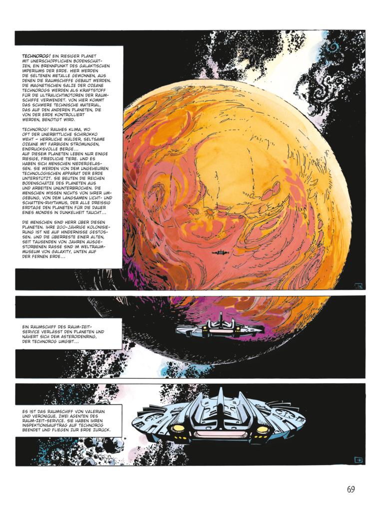 Das Raumschiff von Valerian und Veronique nähert sich einem orangen Planeten und ist somit einer der Star Wars Einflüsse