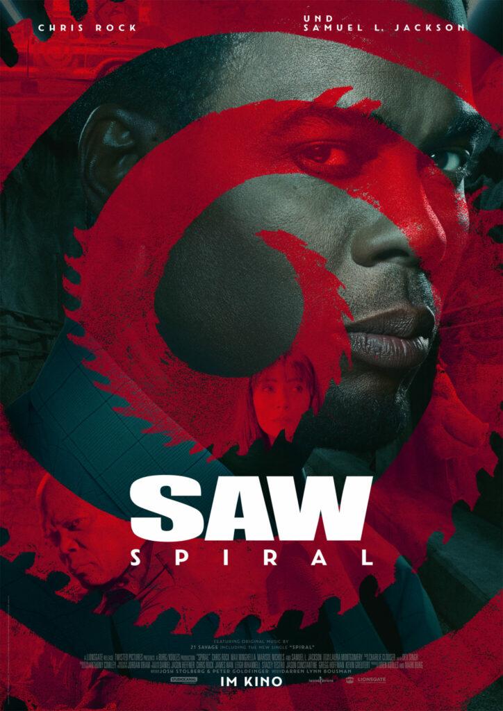 Das Filmpalakt zu Saw. Spiral zeigt im Vordergrund eine rote Spirale und im Hintergrund das Gesicht von Chris Rock