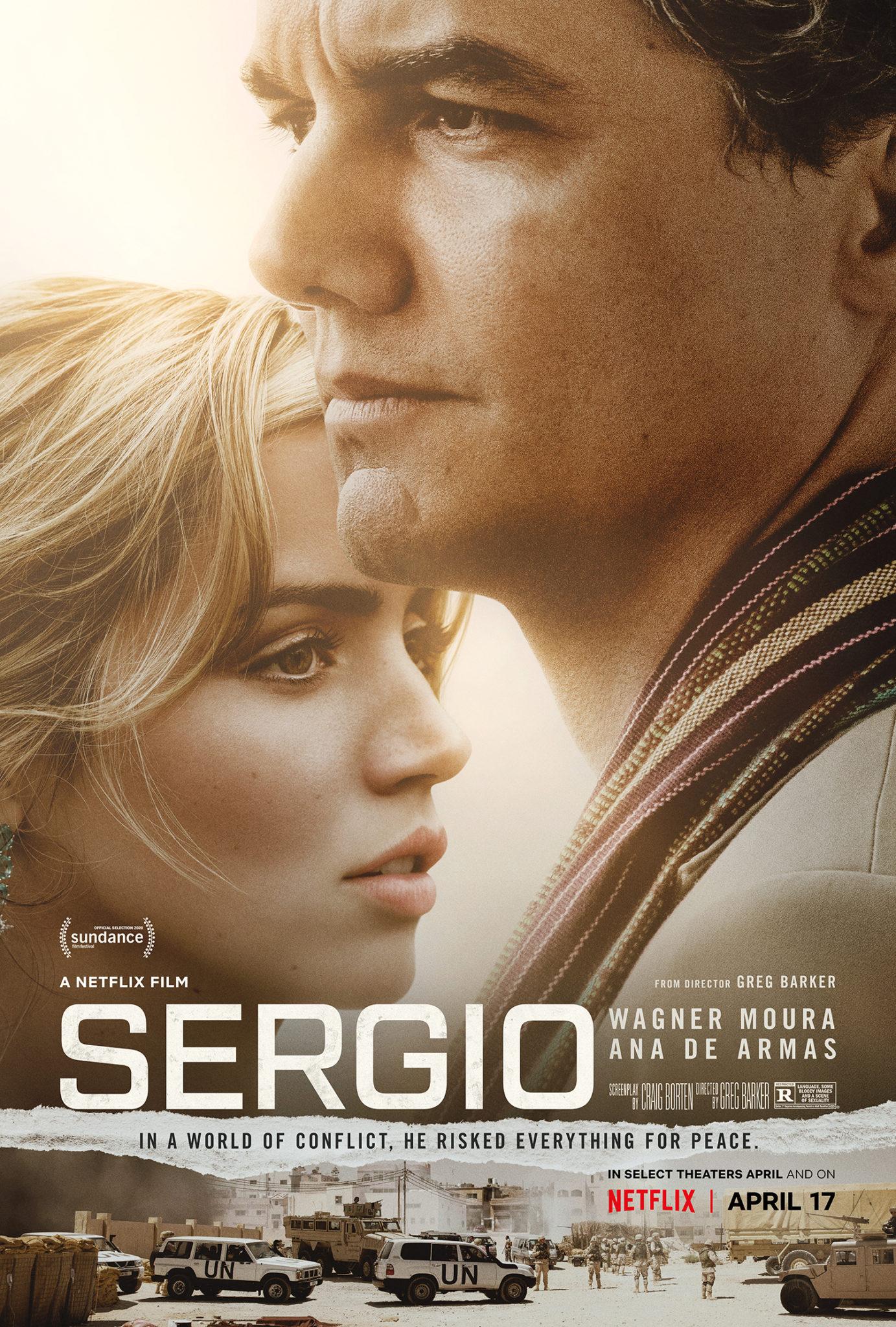 Das Hauptplakat des Films Sergio zeigt die beiden Hauptpersonen in Großaufnahme, in gegengesetzte Richtung blickend.