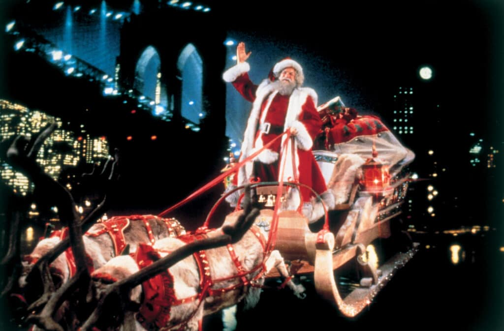 Der Weihnachtsmann mit Schlitten und Rentiergespann in Santa Claus