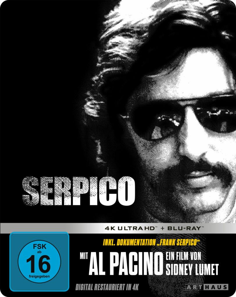 Auf dem Steelbook-Cover sieht man Al Pacino in Schwarz weiß als Serpico