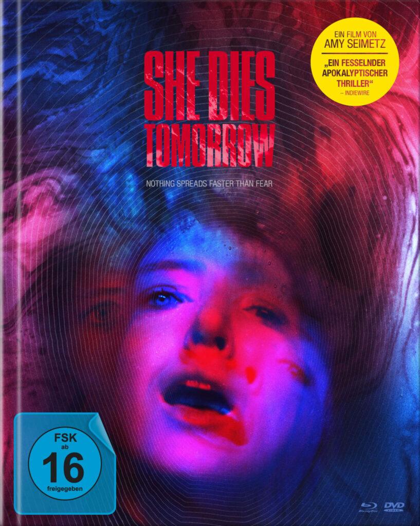 Das Mediabook-Cover von She Dies Tomorrow mit FSK-16-Siegel.