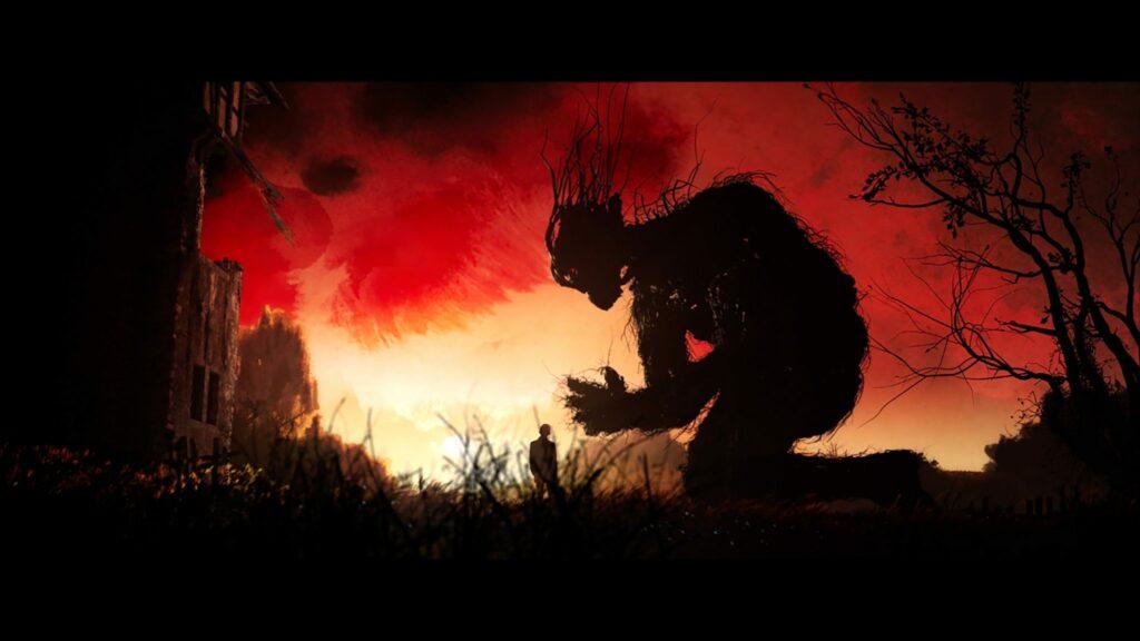 """Während der deutsche Filmtitel auf die bestimmte Uhrzeit anspielt, heißt der originale Filmtitel """"A Monster Calls"""" und bezieht sich auf das Baumähnliche Monster. Das kunstvolle Bild, dass wie aus einer Fabel wirkt, zeigt Hauptfigur Conor und das Monster in """"Sieben Minuten nach Mitternacht"""". Man erkennt nur die Silhouetten der beiden, während das Monster niederkniet vor Conor. Der Himmel im Hintergrund ist anmutend schön in einem kraftvollen rot und orange-gelb."""