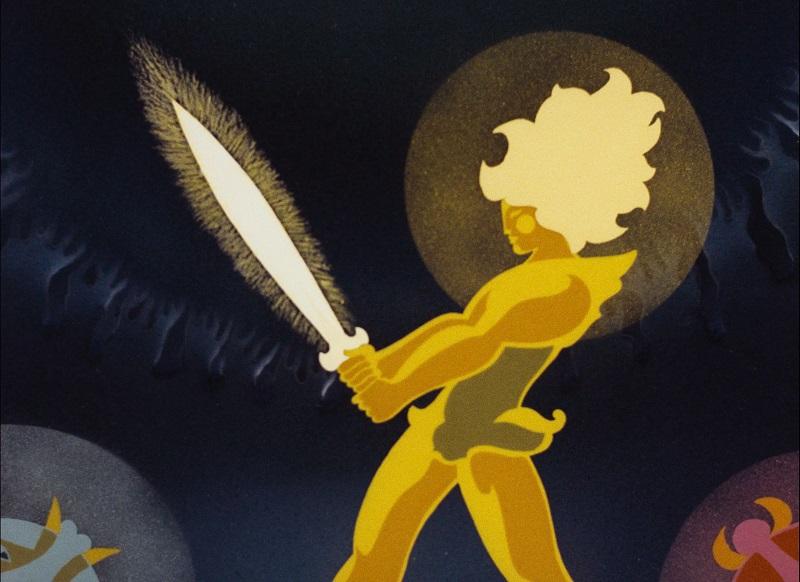 Der Sohn der weißen Stute hält ein leuchtendes Schwert mit beiden Händen von sich weggestreckt.