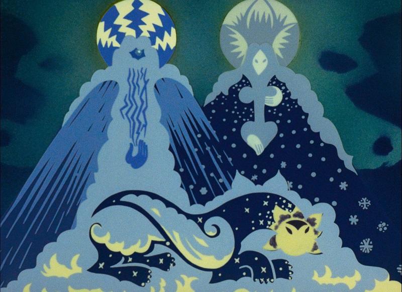 Ein drachenartiger Greif liegt auf dem Boden vor zwei imposant wirkenden Bergen, die die Herrscher des Landes darstellen sollen.
