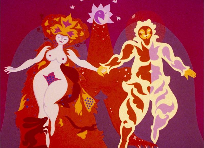 Ein Bruder und eine Prinzessin laufen Hand in Hand mit fröhlichem Gesicht frontal auf den Betrachter zu, dahinter ein Greif mit ausgebreiteten Flügeln vor rotem Hintergrund.