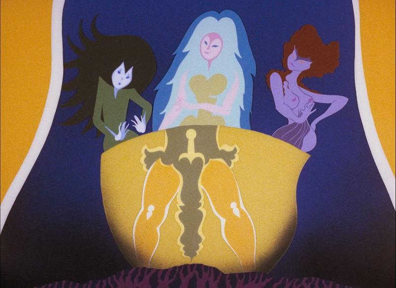 Die drei Prinzessinnen sitzen in einem bauchigen Gefäß, an dessen Oberfläche sich der Unterleib vom Sohn der weißen Stute spiegelt, sodass sein Schwert zu sehen ist, das er zwischen seinen Beinen trägt.
