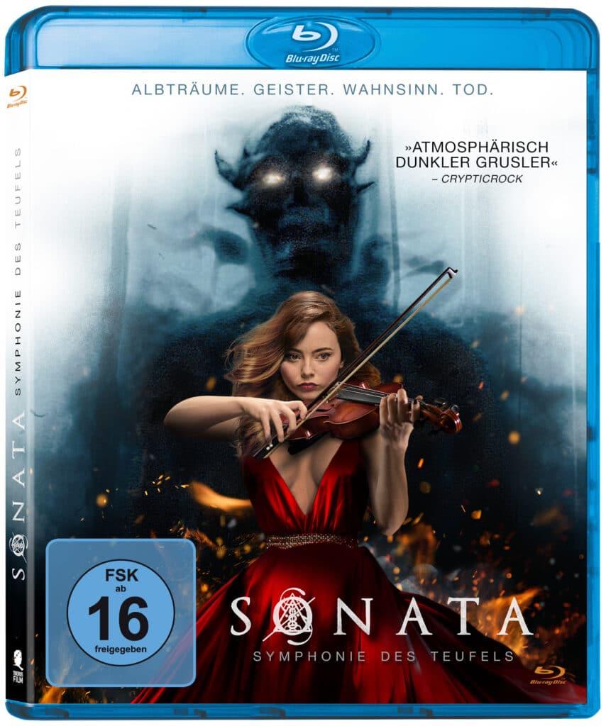 Das Cover der Blu-ray von Sonata - Symphonie des Teufels zeigt die auf einer Violine spielende Freya Tingley. Im Hintergrund erscheint der Schemen einer teuflischen Gestalt.