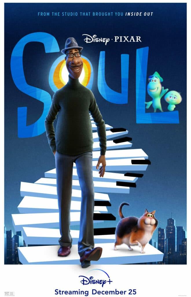 Das Filmplakat von Soul zeigt, wie Joe (Jamie Foxx) mit einer Katze eine Treppe in Klavierdesign hinuntergeht.