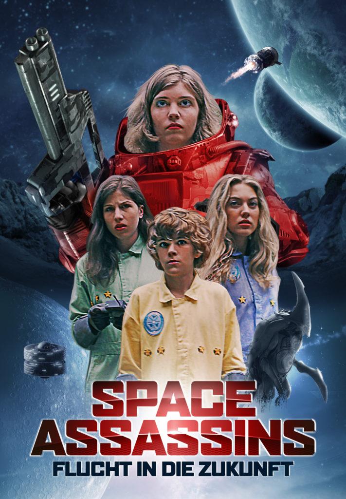 Das Plakat zu Space Assasins - Flucht in die Zukunft zeigt Sarah, gespielt von Shannon Hutchinson mit futuristischer Waffe und ihre Partner Brooke, gespielt von Yael Haskal, Tom, gespielt von Jonathan Newport, und Charlie, gespielt von Jasmina Parent, vor einem Weltraumhintergund.