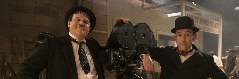 Stan Laurel und Oliver Hardy am Set eines ihrer Filme, Stan & Ollie