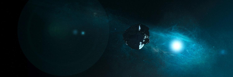 Das Raumschiff schwebt durch den Weltraum   Das Letzte Land